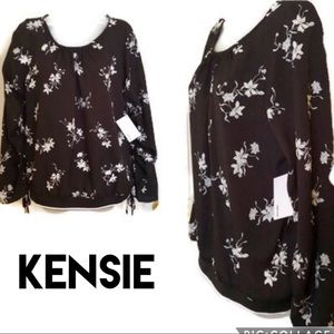 Black White Top Kensie Chic Ruched Sleeve NWT
